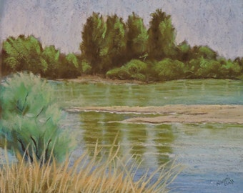 Sandbar Original Art Oregon Landscape Pastel Painting River