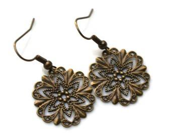 Antique Brass Filigree Star Medallion . Earrings
