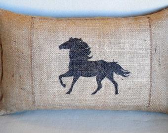 wild horse hand painted lumbar pillow