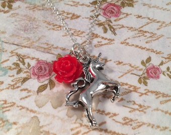 Unicorn Red Rose Pendant Chain Necklace