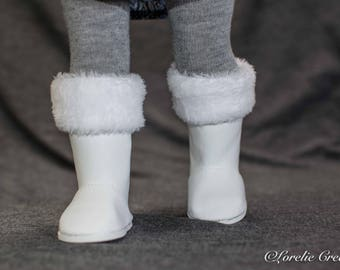 """American Girl or 18 Inch Doll BOOTS in WHITE Faux Leather with Faux FUR Cuffs for American Girl or 18 """" Doll"""