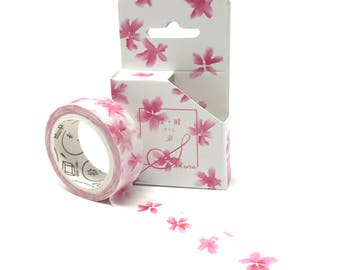 Sakura Flower Design Washi Tape // Watercolor Pink Cherry Blossom Floral Decorative Tape for Planners and Collages // 15mm/8m
