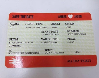 Train ticket wedding invitation wedding stationery