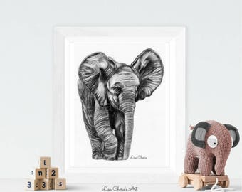 Elephant Baby Print, Elephant Baby Drawing - Nursery Art, Prints, Elephant Totem, Elephant Baby decor print,Baby animal print, Nursery Print