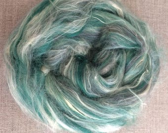 Green Vegan Fibre Custom Blended roving 50 gr Spin Flora Blue Grey Vanilla White Bamboo Soyabean Seacell Soyasilk top 157 Free Shipping