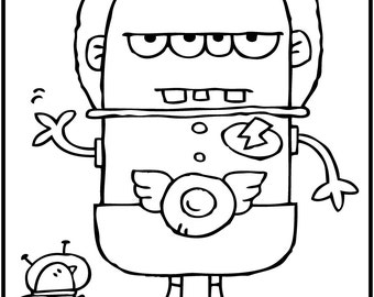 ALIENS PAK TWO / 5 Coloring Pages for Kids! Black and White Download