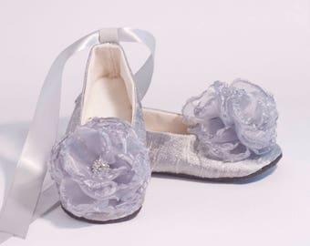 Silver Toddler Shoes, Grey Silk Baby Ballet Slipper, Easter, Flower Girl, 7 colors, Little Girl Wedding Ballet flat, Christening, Baby Souls
