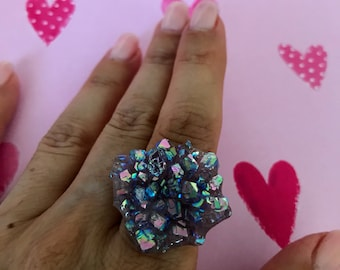 Beautiful! Large Sliced Aura Grape Amethyst Flower Druzy Cluster Sterling Silver Ring size 6.5-8
