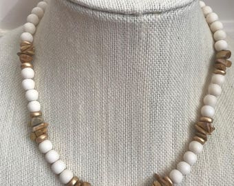 White Wood Bead Necklace. Gold. White. Tan Chip Beads. Summer. Spring.  Boho. Beachy. Neutral.