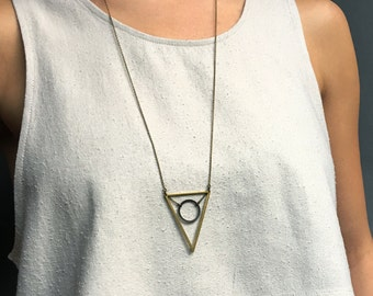 Geometry Triangle Necklace / The SACRED GEOMETRY Necklace / Circle Triangle Necklace / Custom Long Geometric Necklace / Bohemian Fringe