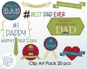 Father's Day Digital Scrapbooking Clip Art, Buy 2 Get 1 FREE. Instant Download