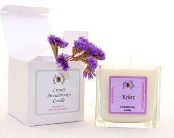 Luxury Relax Candle | Boxed Candle | Friend Gift | Gift | Soy Wax Candles | Natural Soy Candles | Aromatherapy Candle | Best Luxury Candle
