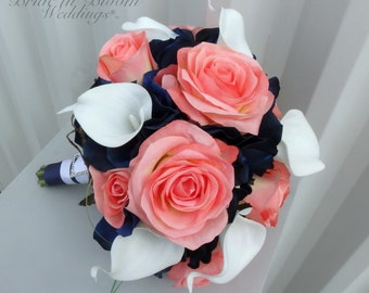 Bridesmaid Bouquet coral navy white calla lily rose Silk Wedding flowers