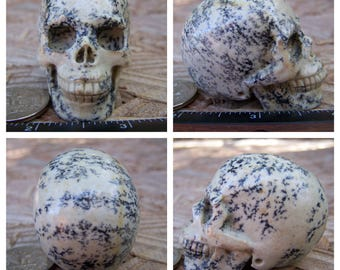 """2.12"""" 3.5oz 98.5g Unknown Dendritic Stone Skull Realistic Crystal Healing Magick Metaphysical Mystic Reiki Wicca Large 2 inch Cream SK1984"""