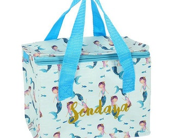 Personalised Mermaid lunch bag, lunch box, back to school, insulated lunch bag, school lunch bag, preschool lunch bags