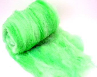 "Superwash fiber, spinning batt, hand dyed, green, Drum carded smooth, machine washable, superwash fibre, Colorway  ""Lime Sherbet"" 3.2 oz."