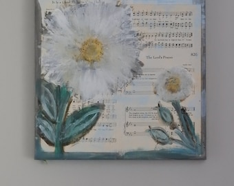 The Lords Prayer - Daisies in Spring - Rustic Hymnal Church Painting  - 12 x 12