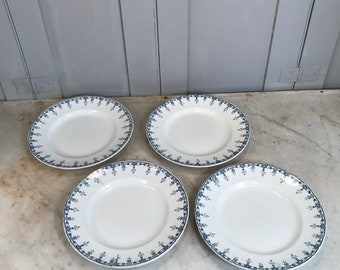 Set 4 antique French blue white pattern china plates by Nelda