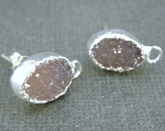 Druzy Drusy Druzzy Earring Posts- Silver Electroplated Druzy Earring Connector Post- 1 PAIR (S15B6-08)