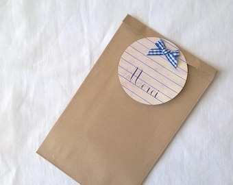 """A pouch kraft 19 x 12 gift for teacher """"Thank you"""" vintage book page"""