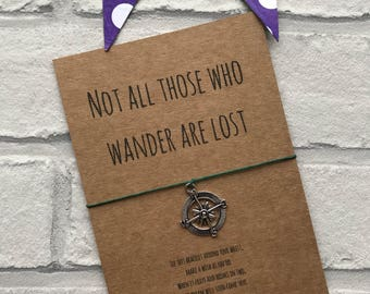"Compass Wish bracelet - ""Not all those who wander are lost"" string bracelet - J R R Tolkien quote charm bracelet - Wanderlust gift"