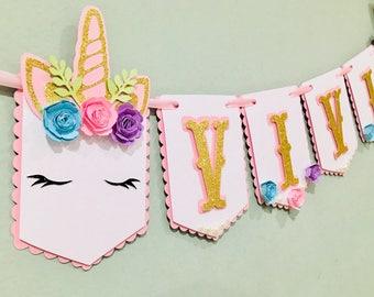 Glitter Unicorn name banner, unicorn banner, unicorn birthday party decor, unicorn party center piece, unicorn cupcake toppers