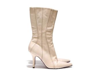 Faith cream calf length pointed stiletto boots