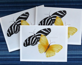 butterfly card set-black and white butterfly-yellow butterfly-butterfly watercolor-butterfly painting-butterfly art-carol sapp-note card set