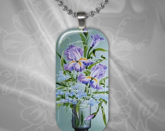 Iris Floral Arrangement Glass Tile Pendant with chain(CuFlR5.4)