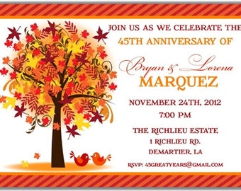 Autumn Fall Leaves Tree Love Birds Personalized Printable Digital DIY Invite or Card ( Any Wording or Text)