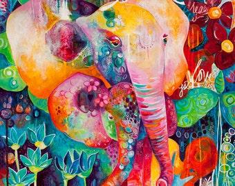 Elephant + Baby Love Art Print. Giclee. Wall Decor. Colorful Elephant. Archival Print. 8x10.