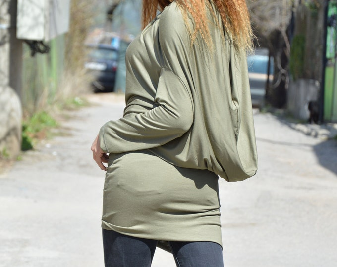 Extravagant  Khaki Loose Tunic, Asymmetric Oil Green Top, Long Sleeve Top, Plus Size Maxi Tunic, Women Dress by SSDfashion