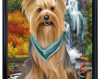Scenic Waterfall Yorkshire Terrier Dog Framed Canvas Print Wall Art