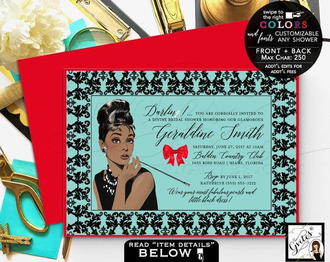 Breakfast Bridal Shower Invitation, Printable Audrey Hepburn invitations Audrey party themed, wedding shower. Gvites