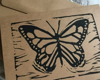 Butterfly Handstamped Linocut Card