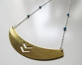 Half moon raw brass chevron necklace