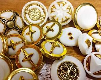 White and Gold Metalized Plastic Buttons - Antiqued Gold Vintage Decorative Buttons - Sewing Buttons - B50- 27 Buttons