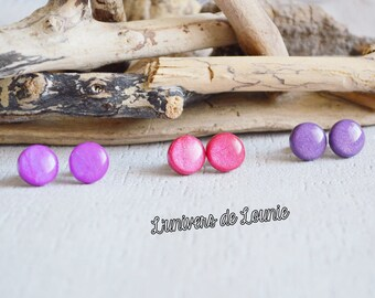 Minimalist red Violet hand made circle earrings