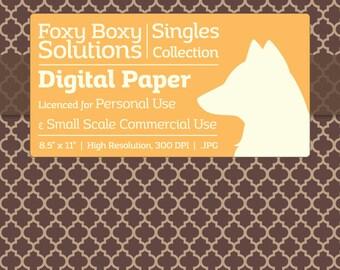 Moroccan Pattern on Kraft Digital Paper - Single Sheet in Brown - Printable Scrapbooking Paper