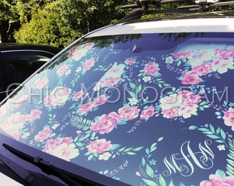 Monogrammed Windshield Sun Shades For Car Classy Black Floral Monogrammed Sunshades Personalized Custom Floral Car Accessories for Women