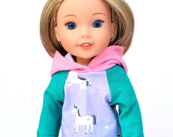 Fits like Wellie Wishers Doll Clothes - Unicorn Raglan Hoodie in Teal and Lilac | 14.5 Inch Doll Clothes