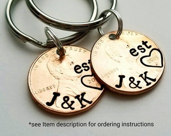 Lucky Personalized Custom Penny Keychain, Boyfriend gift, Girlfriend, For Her, For Him, Anniversary, Wife, Husband, Wedding, Valentine's Day
