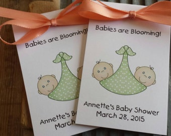 Adorable Twins Babies in Slings Baby Shower Flower Seeds Party Favors - Cute Neutral favors