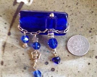 Dark blue pin, one of a kind brooch,