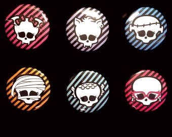 Monster High School Ghouls Logo Set of Buttons, Magnets, or Stickers