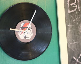 Storm Trooper Bowie art vinyl record clock