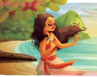 Disney MOANA Pacific Islander 11x17 Premium Art Print with Embellishments