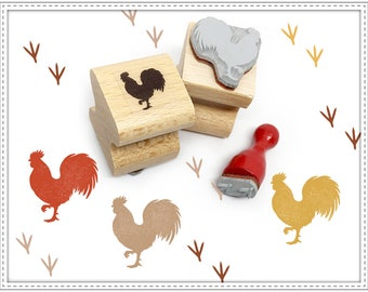 Rubber stamp set ROOSTER & TRACKS