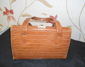 Beautiful Vintage Real Leather Mid-Brown Croc effect Kelly Handbag - 1960's