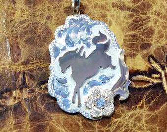 Free Spirit Horse Pendent/ Artisan handmade/ Sterling Silver and 12kt gold Overlay